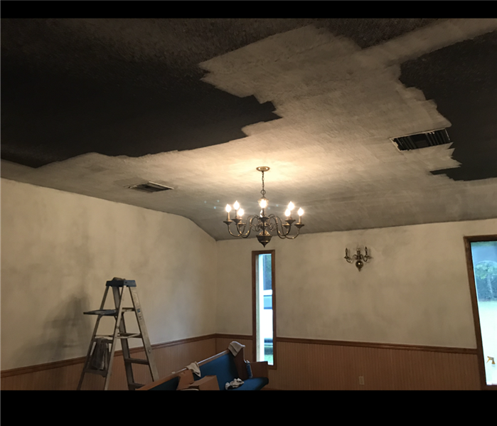 smoke clean up from a fire damaged room